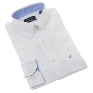 Nautica Men's Solid White Cotton Dress Shirt