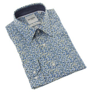 Ben Sherman Men's Blue and Yellow Floral Dress Shirt