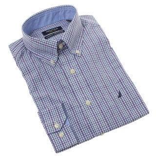 Nautica Men's Purple Plaid Dress Shirt
