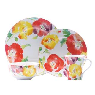 222 Fifth Jolly Poppy 16-piece Dinnerware Set