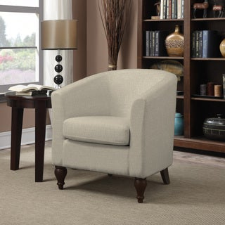 Portfolio Marly Barley Tan Linen Barrel Arm Chair