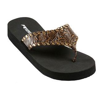 Brown Faux Leather Flip Flops