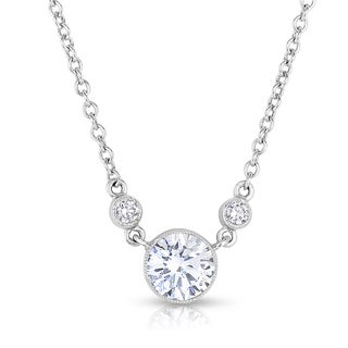 Eloquence 18k White Gold 1 1/10ct Bezel-set Diamond Solitaire Pendant (F-G, VS1-VS2)