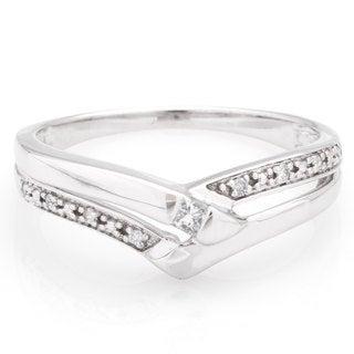 14k White Gold 1/10ct TDW Princess Cut Diamond Band (H-I, I1)