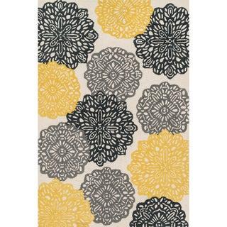 Hand-tufted Tatum Ivory/ Charcoal Wool Rug (5'0 x 7'6)