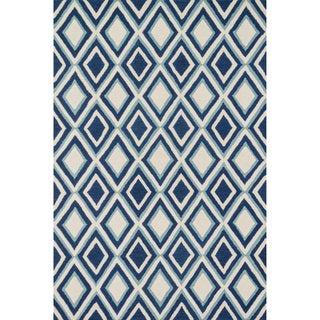 Hand-tufted Tatum Ivory/ Blue Diamond Wool Rug (7'9 x 9'9)