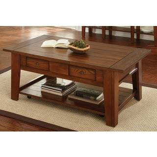 Greyson Living Dennison Red Oak Coffee Table with Casters