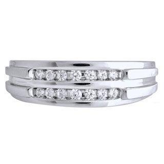 Bridal Symphony Sterling Silver Men's 1/6ct TDW Diamond Ring (I-J, I1-I2)