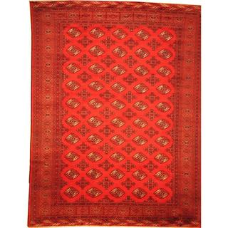 Herat Oriental Afghan Hand-knotted Semi-Antique Tribal Balouchi Red/ Navy Wool Rug (9'7 x 12'7)