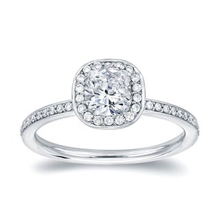 Auriya 18k White Gold 4/5ct TDW Cushion Halo Diamond Engagement Ring (H-I, SI1-SI2)