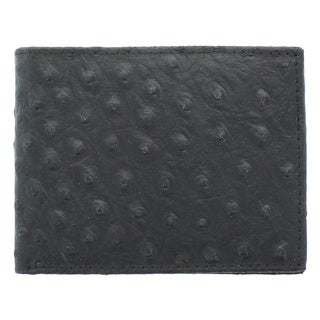 YL Fashion Men's Ostrish Embossed Grain Bonded Leather Bi-fold Wallet
