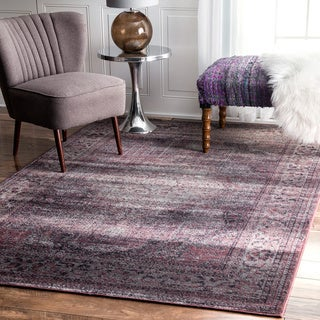 nuLOOM Oriental Vintage Viscose Persian Amethyst Area Rug (7'8 x 9'6)