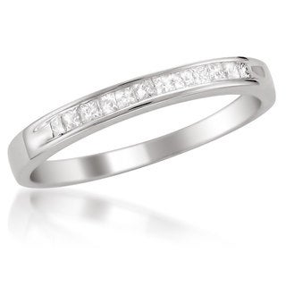 Platinum 1/4ct TDW White Diamond Channel-Set Wedding Band (H-I, SI2-SI3)