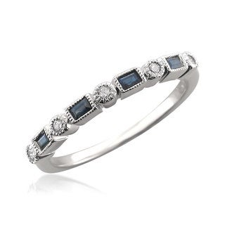 14k White Gold 1/10ct TDW Diamond and Blue Sapphire Wedding Band (H-I, SI1-SI2)