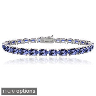 Glitzy Rocks Silver 16ct Tanzanite Oval Tennis Bracelet