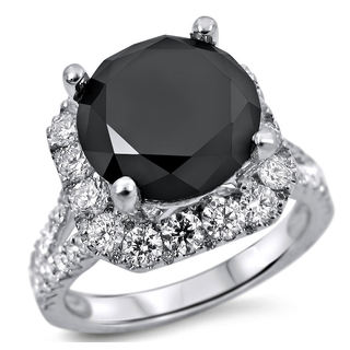 Noori 18k White Gold 5 1/4ct TDW Black and White Certified Diamond Halo Engagement Ring (E-F, SI1-SI2)