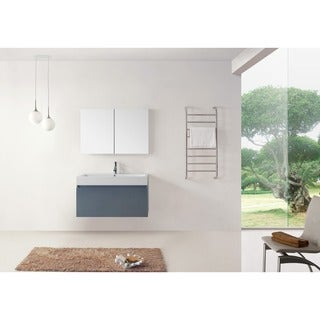 Virtu USA Zuri 39-inch Grey Single Sink Bathroom Vanity Set