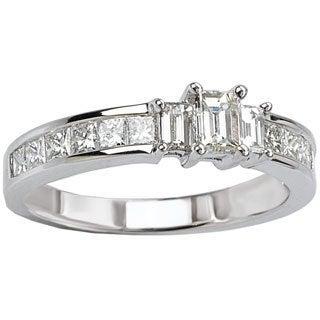 Avanti 14k White Gold 1ct TDW Princess and Baguette Three-stone Diamond Engagement Ring (G-H, SI1-SI2)