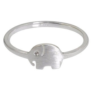 Sterling Silver 'Twinkling Elephant' Band Ring (Thailand)