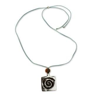 Leather Pewter 'Celestial Life' Pendant Necklace (Honduras)