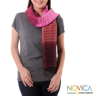 Handcrafted Silk 'Wine Evolution' Scarf (Thailand)