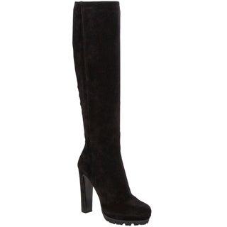 Prada Women's Suede High Heel Platform Boots