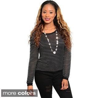 Shop The Trends Women's Long-sleeve Semi-sheer Stripe Knit Sweater Top