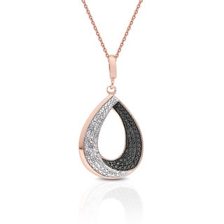 Finesque Rose Gold and Silver Overlay Diamond Accent Teardrop Necklace