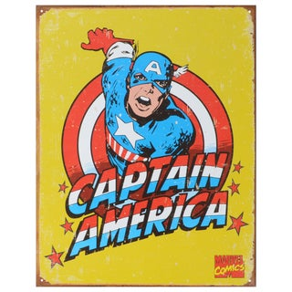 Vintage Metal Art 'Captain America Retro' Decorative Tin Sign