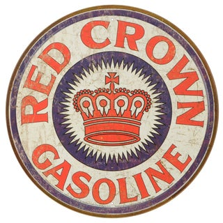 Vintage Metal Art 'Red Crown Gas' Decorative Round Tin Sign