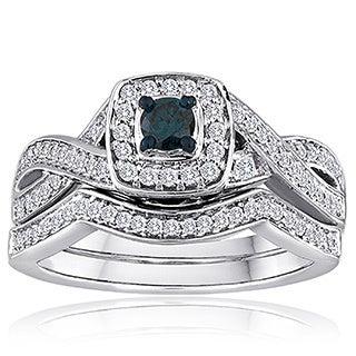 Platinaire 1/2ct TDW Blue and White Diamond Bridal Set (H-I, I2-I3)