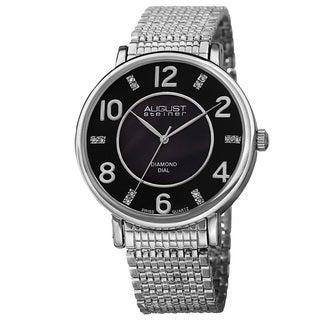 August Steiner Men's AST8138SSB Ultra-thin Swiss Quartz Mother of Pearl Diamond Dial Bracelet Watch