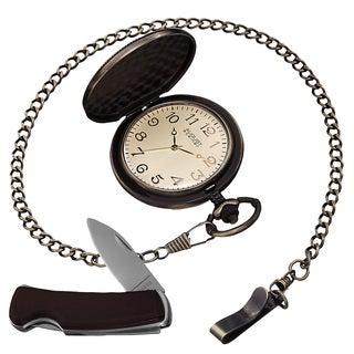 August Steiner Men's Japanese Quartz Pocket Watch & Pocket Knife