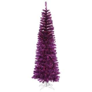 7.5-foot x 34-inch Purple Pencil Tree with 400 Purple Lights, 803 Tips