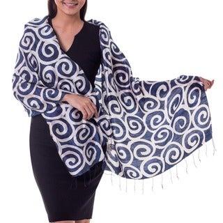 Handcrafted Silk 'Blue Thai Maze' Scarf (Thailand)