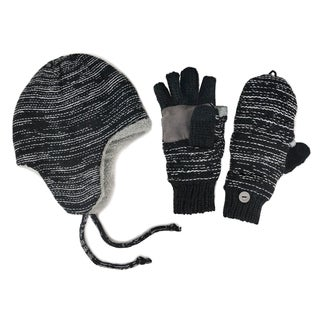 Muk Luks Men's Hat And Flip Mittens Set