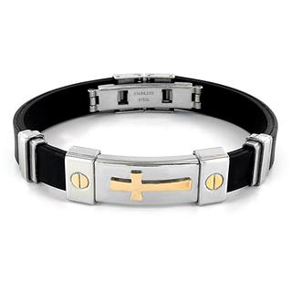 Stainless Steel and Black Rubber Goldplated Cross ID Bracelet