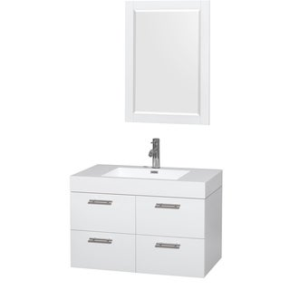 Wyndham Collection Amare 36-inch Single Vanity in Glossy White with Acrylic Resin Countertop/ Integrated Sinks