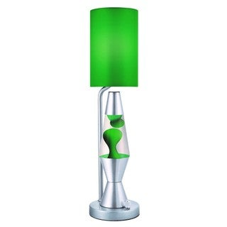 Green/ Clear 19-inch Lava PlusTable Lamp with Silver Base
