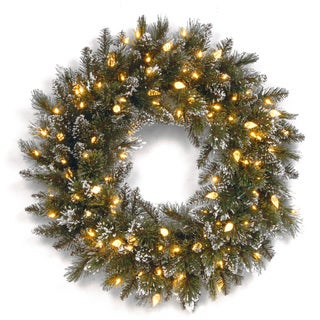 24-inch Glittery Bristle Pine Wreath with 50 Low Voltage Warm White LED Lights with C7 Diamond Caps