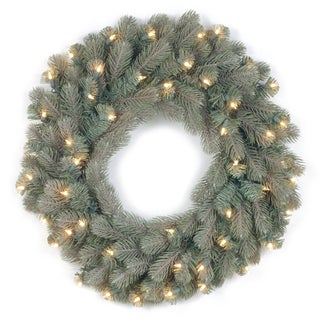 24-inch Feel-Real Frosted Colorado Spruce Wreath with 50 Clear Lights