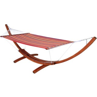 Sunrise Wooden Red Stripe Hammock and Stand
