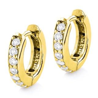 Luxurman 14k Gold 1/2ct TDW Diamond Hoop Clip-in Earrings (H-I, SI1-SI2)