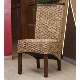 International Caravan 'Bunga' Hyacinth Dining Chair with Mahogany Frame and Rattan Trim