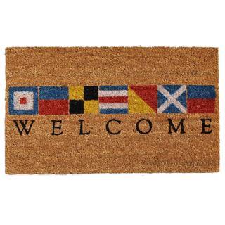 Nautical Welcome Coir with Vinyl Backing Doormat (1'5 X 2'5)