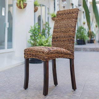 International Caravan 'Louisa' Woven Abaca Cushioned Seat Chair with Mahogany Hardwood Frame
