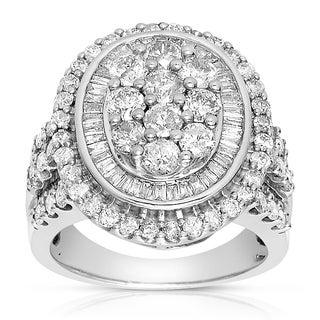 Eloquence 10k White Gold 3ct TDW Composite Halo Cluster Diamond Ring (J-K, I1-I2)