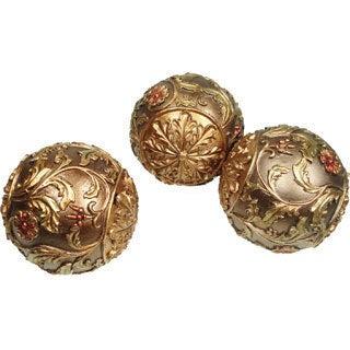 D'Lusso Designs Floral Decorative Orbs (Set of 3)