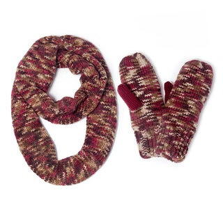 Muk Luks Women's Knit Eternity Scarf and Mittens Set