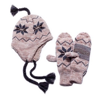 Muk Luk Snowflake Winter Hat and Mittens Set